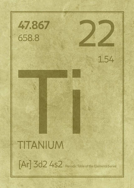 Elements Mixed Media - Titanium Element Symbol Periodic Table Series 022 by Design Turnpike