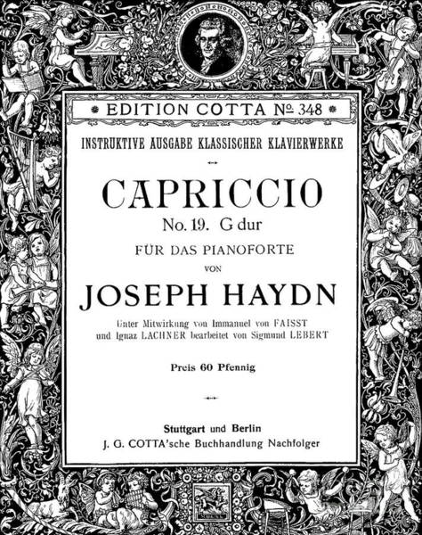 Austrian Drawing - Title Page For Capriccio Number 19  Piano Forte by Joseph Haydn