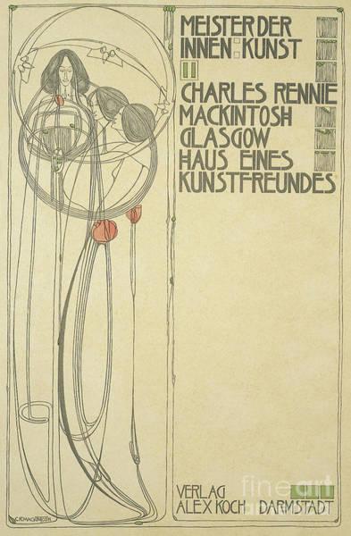 Designer Drawing - Title Page For Haus Eines Kunstfreundes by Charles Rennie Mackintosh