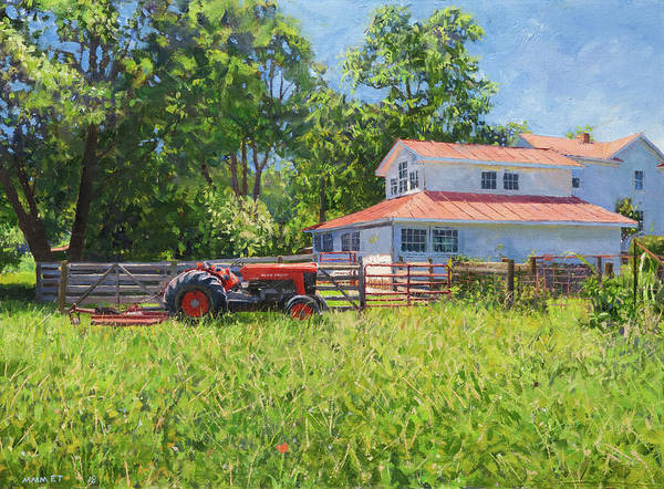 Wall Art - Painting - Red Tractor And Barn, Crozet by Edward Thomas