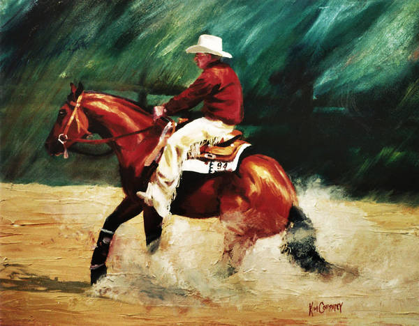 Aqha Painting - Tk Enterprise Sliding Stop Reining Horse Portrait Painting by Kim Corpany
