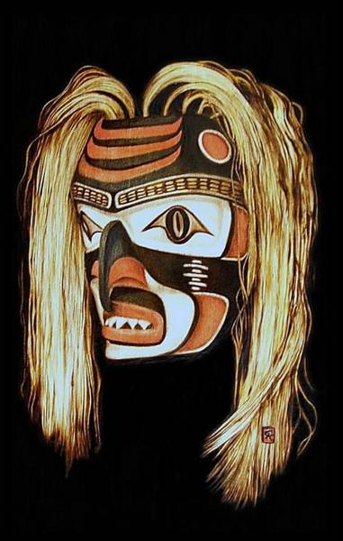 Pyrography Wall Art - Pyrography - Tlingit Shark Mask In Color by Cynthia Adams