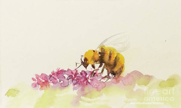 Painting - To Bee Or Not To Be Miniature by Asha Sudhaker Shenoy