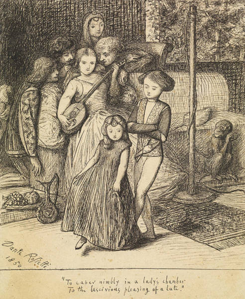 Drawing - To Caper Nimbly In A Lady's Chamber To The Lascivious Pleasing Of A Lute by Dante Gabriel Rossetti