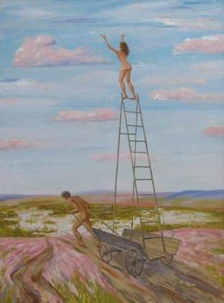 Conceptualism Painting - To Pink Clouds by Petr Lukyanenko