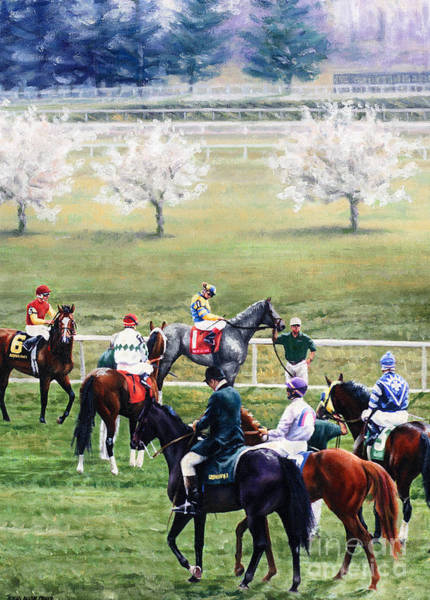Thoroughbred Racing Wall Art - Painting - To The Gate At Keeneland by Thomas Allen Pauly