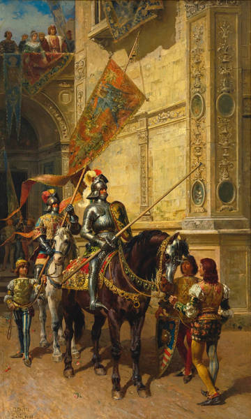 Cesare Painting - To The Joust by Cesare Auguste Detti
