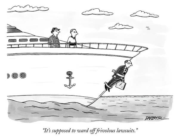 Briefcase Drawing - To Ward Off Frivolous Lawsuits by C Covert Darbyshire