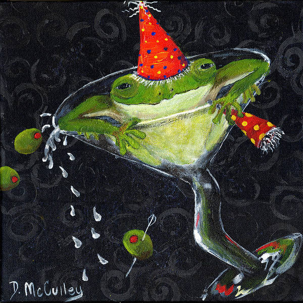 Martini Glasses Painting - Toadally In Glass by Debbie McCulley