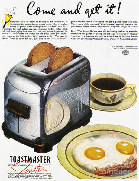Photograph - Toaster Ad, 1938 by Granger