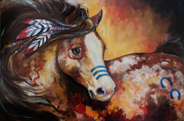 Painting - Tobiano Indian War Horse by Marcia Baldwin