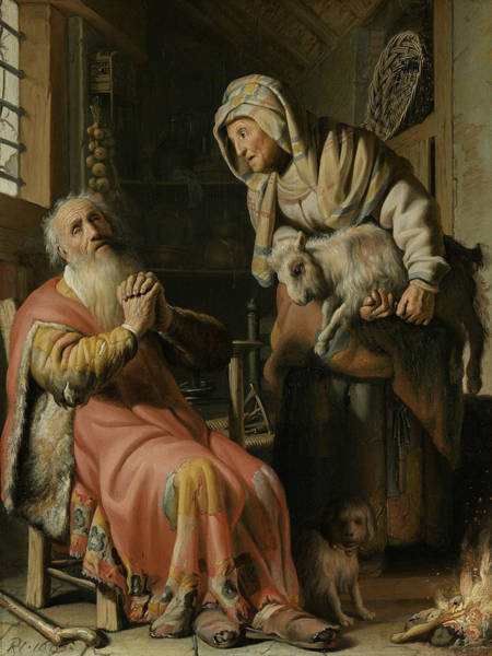 Painting - Tobit And Anna With The Kid Goat by Rembrandt