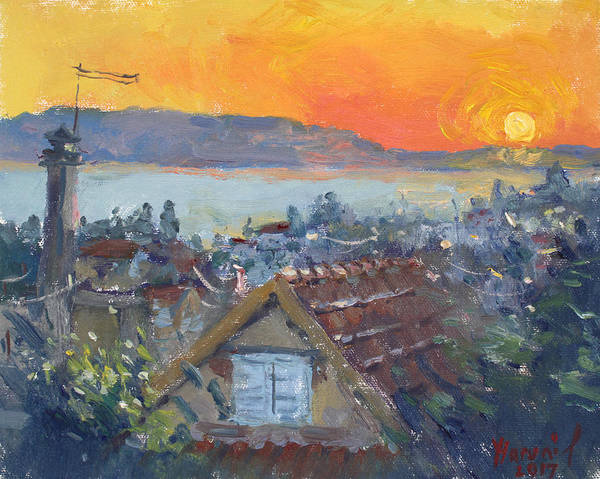 Wall Art - Painting - Today Sunrise Over Dilesi Greece by Ylli Haruni