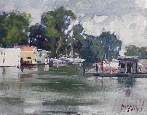 Wall Art - Painting - Today's Plein Air Workshop Demonstration At Wardell Boat Yard by Ylli Haruni