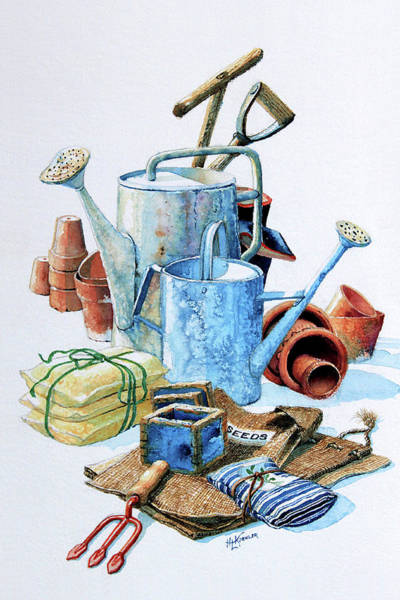 Watering Can Painting - Todays Toil Tomorrows Pleasure Iv by Hanne Lore Koehler