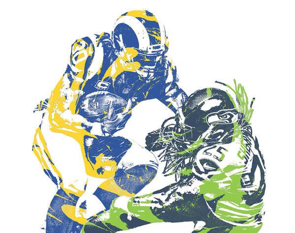 Wall Art - Mixed Media - Todd Gurley Los Angeles Rams Richard Sherman Seattle Seahawks Pixel Art by Joe Hamilton