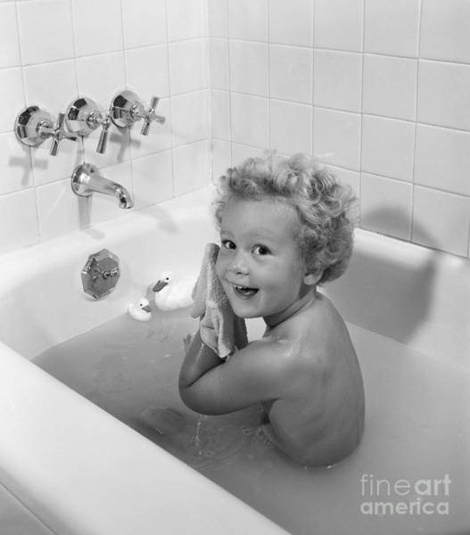 Rubber Ducky Photograph - Toddler In Bath, 1950s by H. Armstrong Roberts/ClassicStock