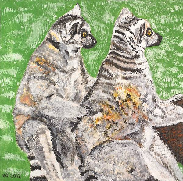 Ring-tailed Lemur Painting - Together by Valerie Ornstein