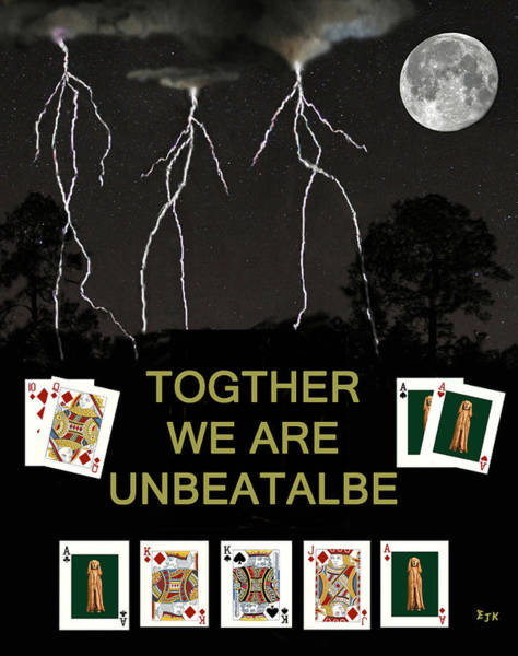 Mixed Media - Together We Are Unbeatable Poker Cards by Eric Kempson