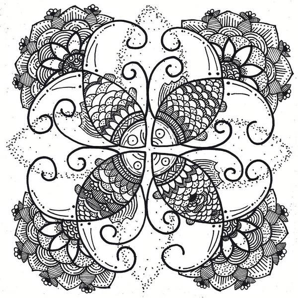 Drawing - Together We Flourish - Ink by Caroline Sainis