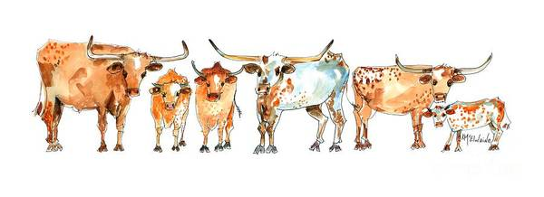 Longhorn Painting - Together We Stand Kmcelwaine by Kathleen McElwaine