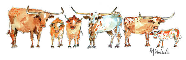 Longhorn Painting - Together We Stand Lh013 by Kathleen McElwaine