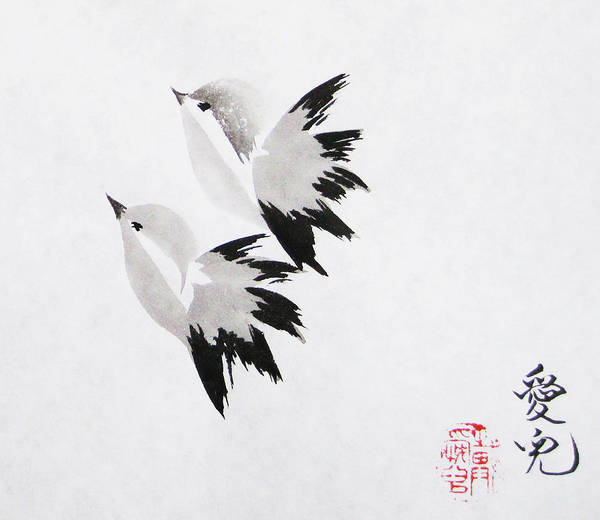 Chinese Brush Painting - Together We'll Fly Side By Side by Oiyee At Oystudio