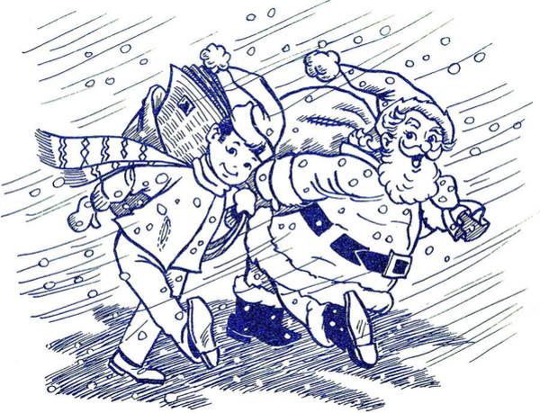 Santa Mixed Media - Together With Santa by Long Shot