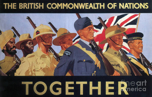 Unity Drawing - Together, World War Two  Recruitment Poster  by English School