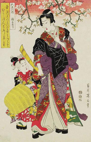 Kansai Painting - Toi No Tamagawa  From The Series Six Jewel Rivers Mu Tamagawa Uchi by Kikugawa Eizan