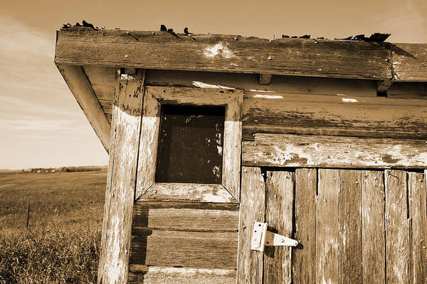 Outside Toilet Photograph - Toilet Outhouse Architectural Detail Sepia Toned by Donald  Erickson