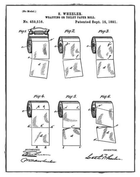 Toilet Paper Patent Photograph - Toilet Paper Patent 1891 by Bill Cannon