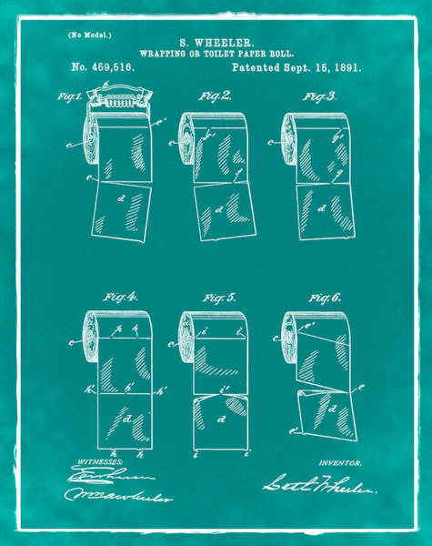 Toilet Paper Patent Photograph - Toilet Paper Patent 1891 Green by Bill Cannon