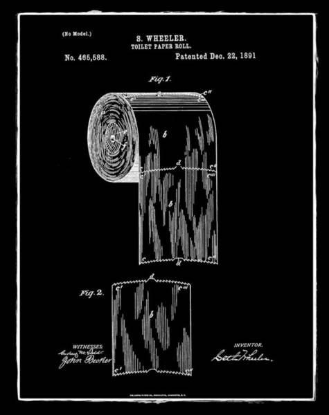 Toilet Paper Photograph - Toilet Paper Roll Patent 1891 Black by Bill Cannon