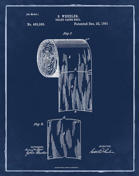 Toilet Paper Photograph - Toilet Paper Roll Patent 1891 Blue by Bill Cannon