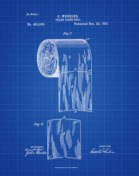 Toilet Paper Photograph - Toilet Paper Roll Patent 1891 Blue Print by Bill Cannon