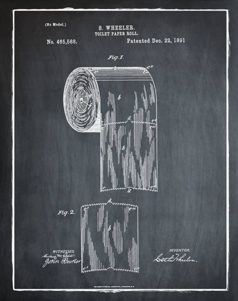 Toilet Paper Photograph - Toilet Paper Roll Patent 1891 Chalk by Bill Cannon