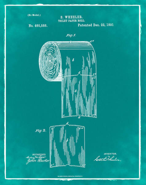 Toilet Paper Photograph - Toilet Paper Roll Patent 1891 Green by Bill Cannon