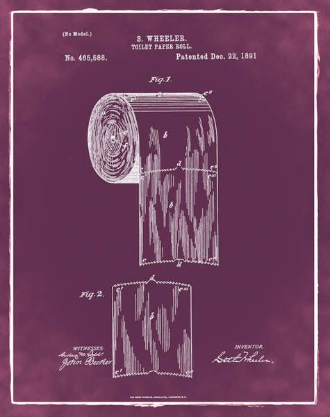 Toilet Paper Photograph - Toilet Paper Roll Patent 1891 Red by Bill Cannon