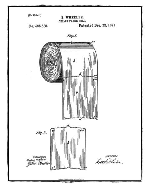 Toilet Paper Photograph - Toilet Paper Roll Patent 1891 White by Bill Cannon