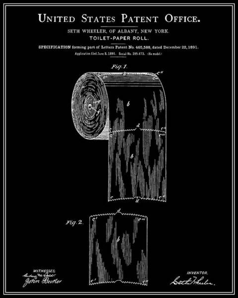Toilet Paper Patent Wall Art - Digital Art - Toilet Paper Roll Patent - Black by Finlay McNevin
