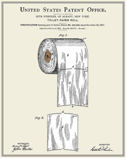 Toilet Paper Patent Wall Art - Digital Art - Toilet Paper Roll Patent - Colour by Finlay McNevin