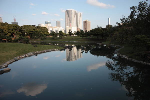 Photograph - Tokyo Highrises With Garden Pond by Carol Groenen