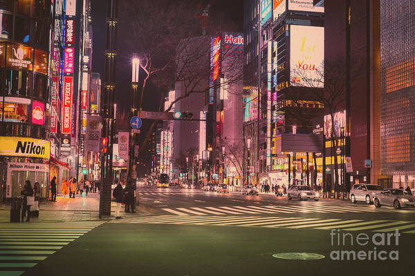 Photograph - Tokyo Street At Night, Japan by Perry Rodriguez