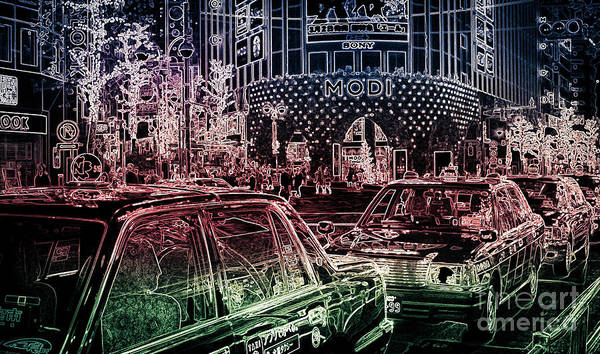 Photograph - Neon Tokyo Taxis, Japan by Perry Rodriguez