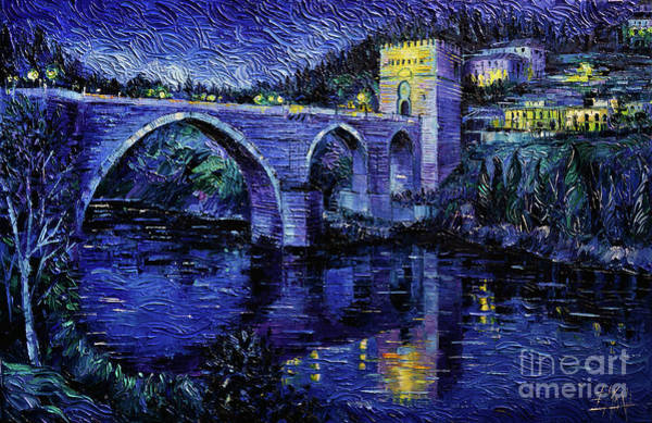 Wall Art - Painting - Toledo Bridge By Night Impressionist Knife Oil Painting Mona Edulesco by Mona Edulesco