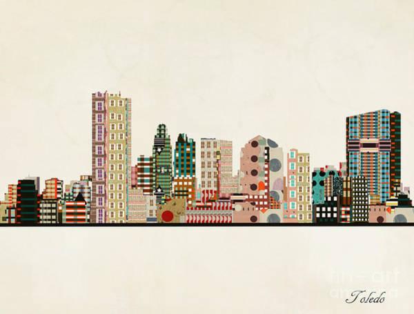 Wall Art - Painting - Toledo City Skyline by Bri Buckley