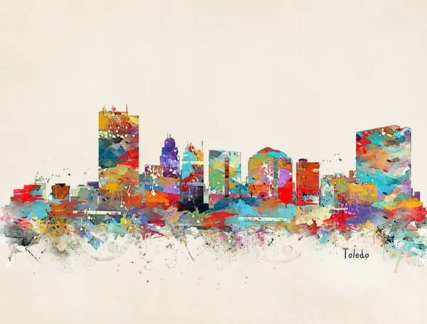 Watercolour Landscape Painting - Toledo Ohio Skyline by Bri Buckley