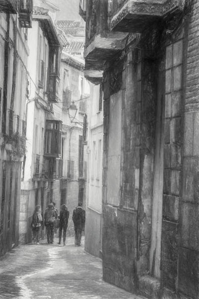 Photograph - Toledo Spain Bw Sketch by Joan Carroll
