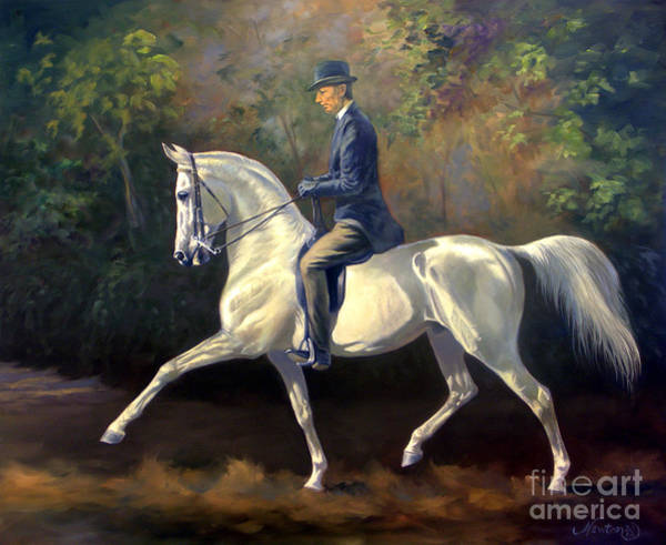 White Horse Wall Art - Painting - Tom Bass And Columbus by Jeanne Newton Schoborg